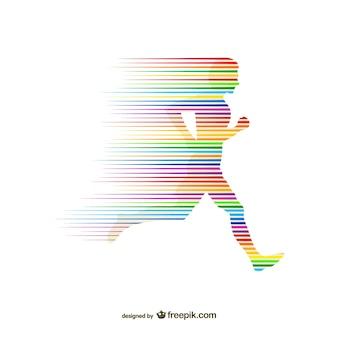 Silueta de corredor con arcoíris