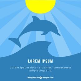SIlueta de delfín bajo el sol