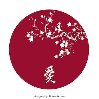 Silueta de flor de cerezo