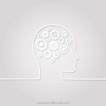 Silueta de la cabeza humana con engranajes