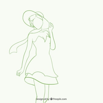 Silueta de la mujer hermosa en estilo esbozado