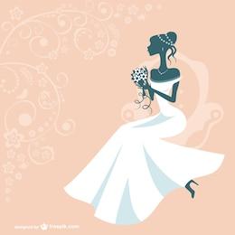 Silueta de mujer con vestido de novia