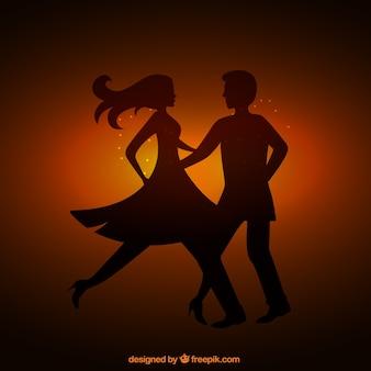 Silueta de una pareja de baile