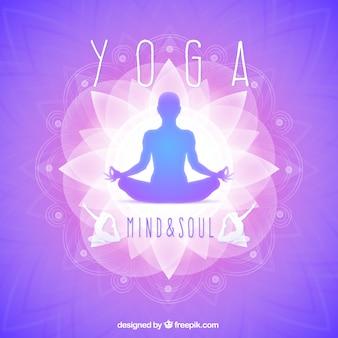 Silueta de yoga púrpura