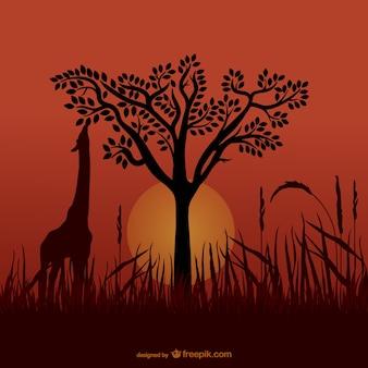 Silueta jirafa africana