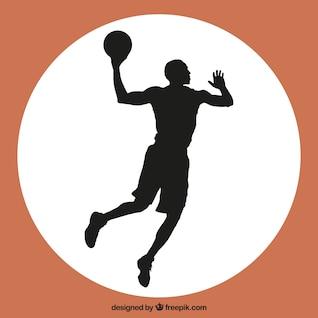 Silueta naranja de jugador de baloncesto