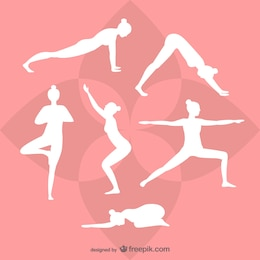 Siluetas blancas de yoga