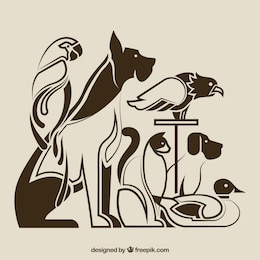 Siluetas de animales domésticos