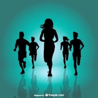 Siluetas de corredores