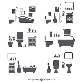 Siluetas de cuarto de baño