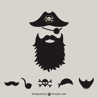 Siluetas de elementos de piratas