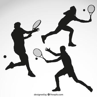 Siluetas de jugador de tenis