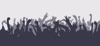 Siluetas de la muchedumbre establecer