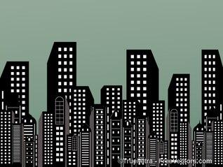 Siluetas de rascacielos de la ciudad de fondo urbano