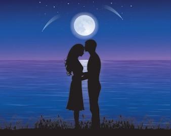 siluetas libre de parejas de enamorados