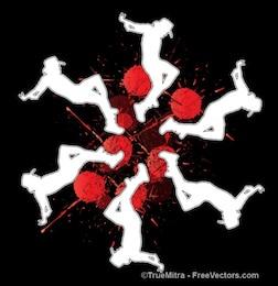 Siluetas que bailan en los puntos rojos