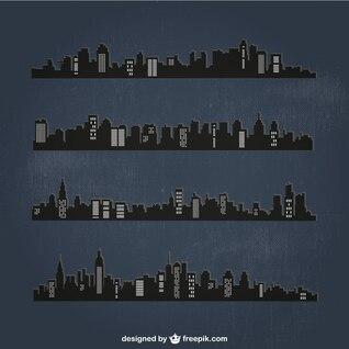Siluetas urbanas de noche
