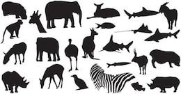 Siluetas vectoriales sin animales