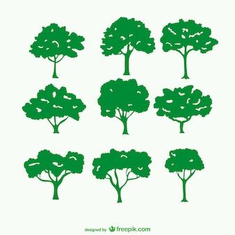 Siluetas verdes de árboles
