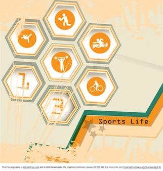 Símbolos del deporte con colores brillantes