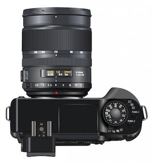 Slr cámara cámara digital vista superior profesional