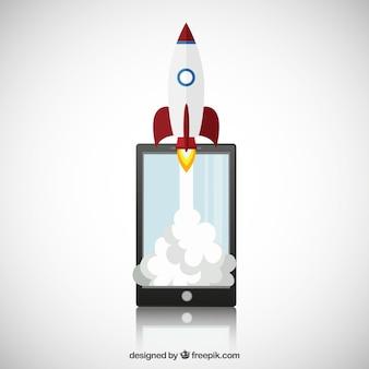 Smartphone con el cohete espacial