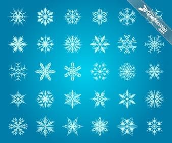 Colección de copos de nieve gráfico