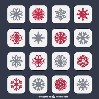 Iconos de copos de nieve en dos colores
