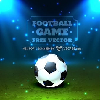 Balón de fútbol con las luces brillantes