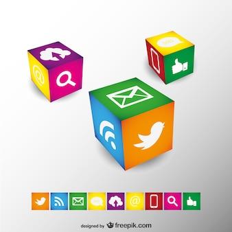 Cubos con iconos de redes sociales de colores