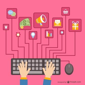 Los medios de comunicación social con teclado