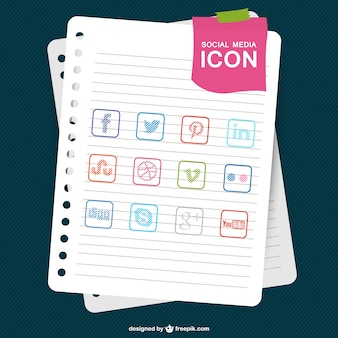 Colección de iconos de redes sociales con textura de papel