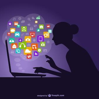 Silueta de la mujer y redes sociales