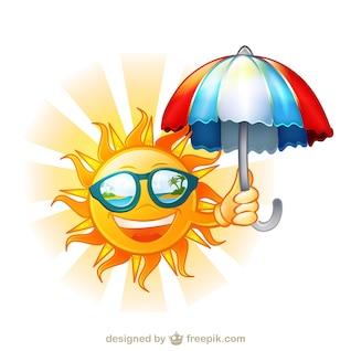 Sol feliz con gafas de sol y la ilustración de dibujos animados paraguas