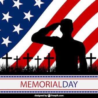 Soldado con fondo de la bandera americana