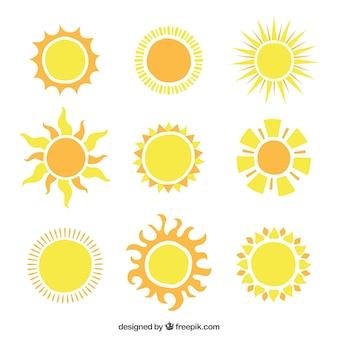 Soles brillantes iconos