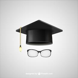 Sombrero de graduación y gafas