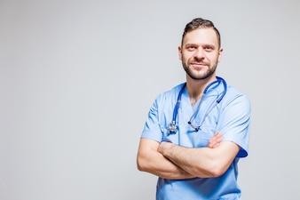 Sonrisa felicidad enfermera médico árabe fuerte