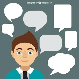 Burbujas de conversación y hombre