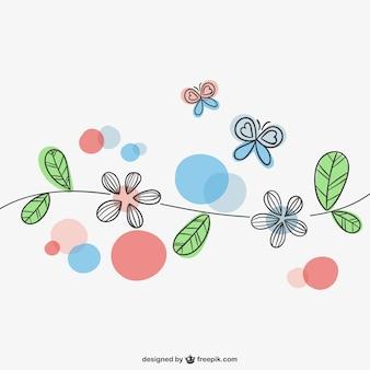 Flores y mariposas de primavera