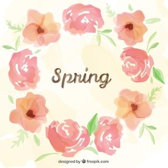 Marco de primavera en estilo acuarela