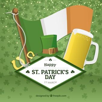 Tarjeta de San Patricio con cerveza y bandera irlandesa