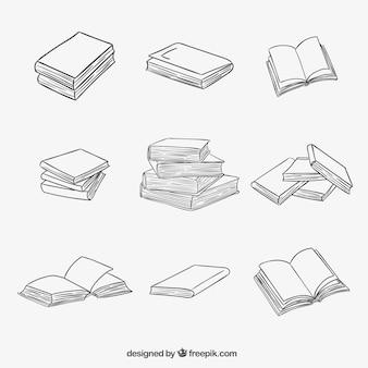 Libros apilados y abiertos en estilo esbozado