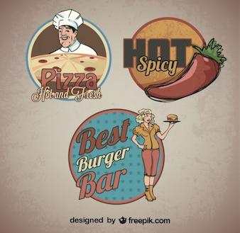 Stickers retro de alimentos