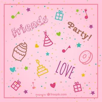elegante fondo de color rosa vector de cumpleaños