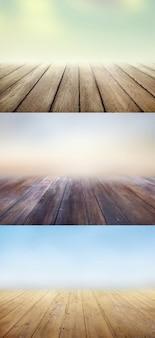 Suelos de madera fondos con desenfoques