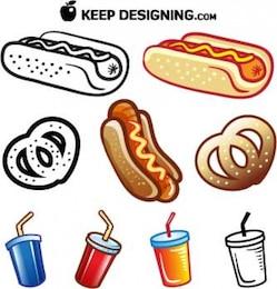 summer_food_vectors_hotdog_pretzel_drink_free
