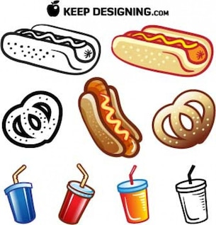 summer_food_vectors_hotdog_pretzel_drink_free