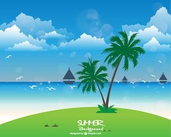 Fondo de vacaciones de verano en la playa