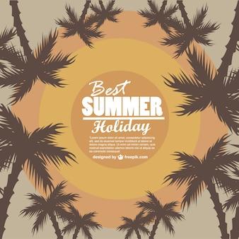 Plantilla de verano con siluetas de palmeras